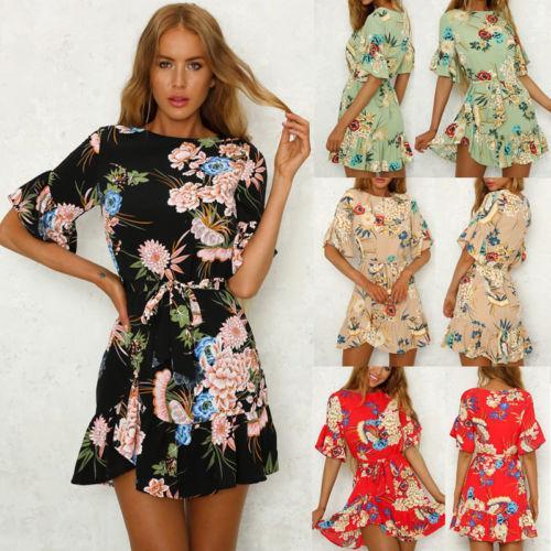 Summer Dress Womens Ladies Beach Spring Short Sleeve Round Neck Sundress Casual