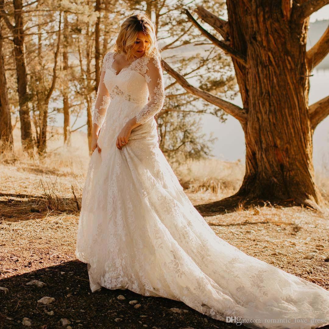 Más el tamaño de vestidos de boda del cordón del país 2021 Nueva tribunal tren con cuentas con cuello en V de 3/4 de largo Seeve A-Line Vestidos de novia Vestido de novia W202
