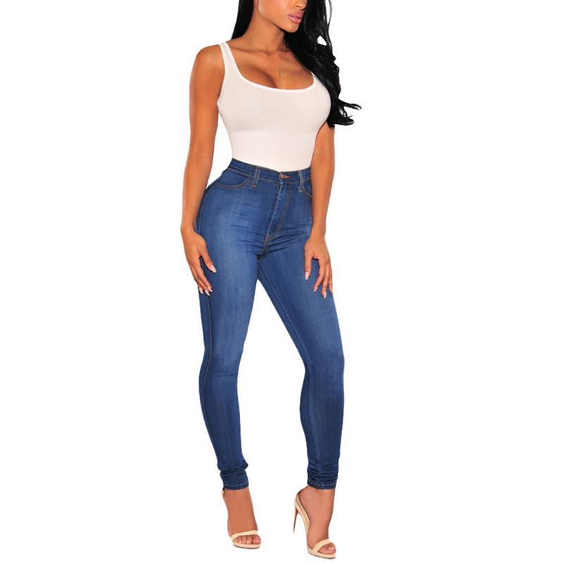 2018 New Slim Pencil Pants Vintage Blue High Waist Jeans Womens Pants Full Length Skinny Cowboy