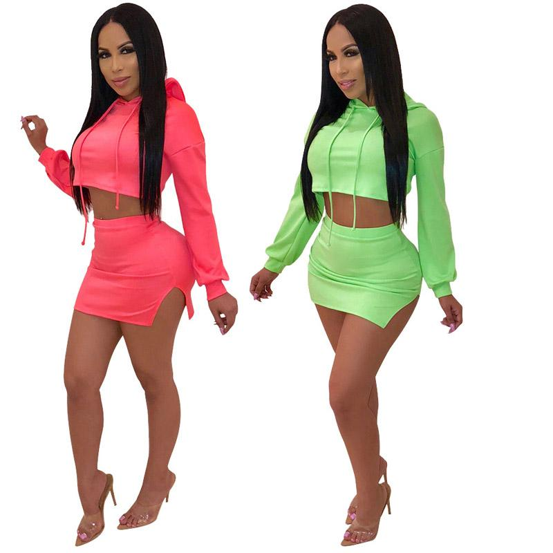 Women dress two piece best selling autumn winter suits Short hoodie mini skirt set red green Sexy fashion womens clothes 2xl 811