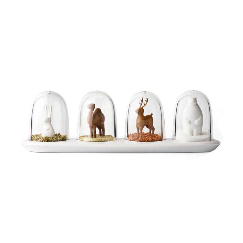 Новые 4шт кухонные принадлежности четыре животных специи Банка творческие животные приправа бутылка соль сахар перец шейкер инструменты для приготовления пищи