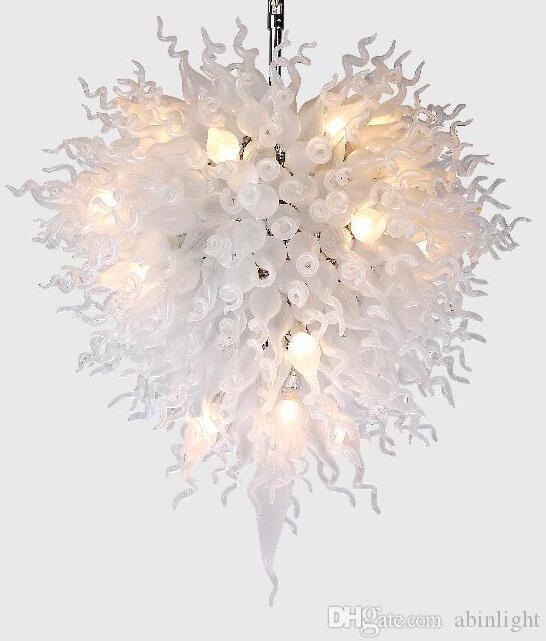100% fait main en verre soufflé de Murano style Art Lustre Grand Hôtel Décor LED en verre blanc Italie Conçu Lustre de haute qualité