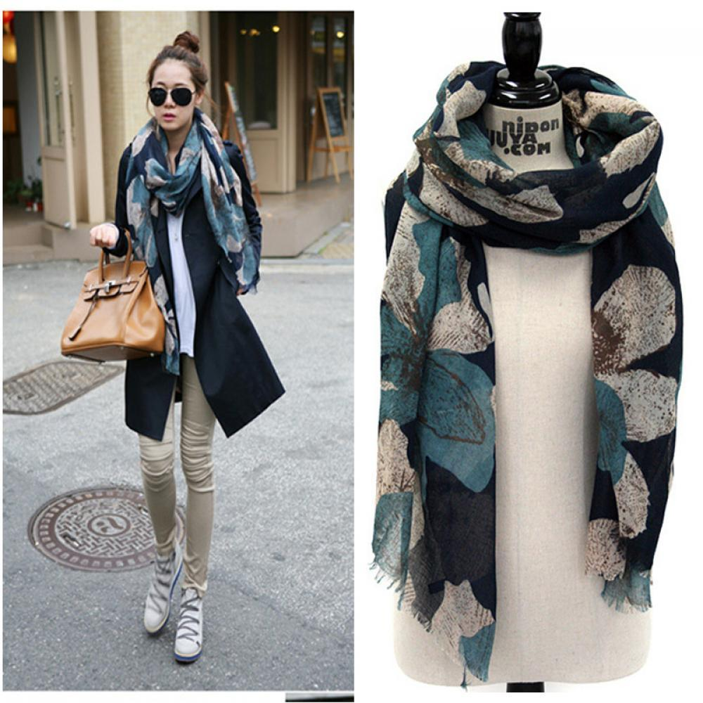 2020 New Hot Fashion Party Scarves Shawl Elegant Women Lady Vintage Long Soft Cotton Voile Print Autumn Winter Christmas