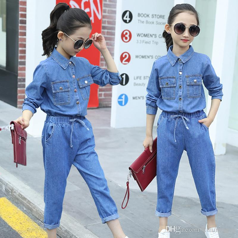 2019 Spring Girls Denim Clothes Set Fashion Autumn Teen Kids Denim Shirts And Jeans Pants 2 Pcs For Girl 4-14 Years