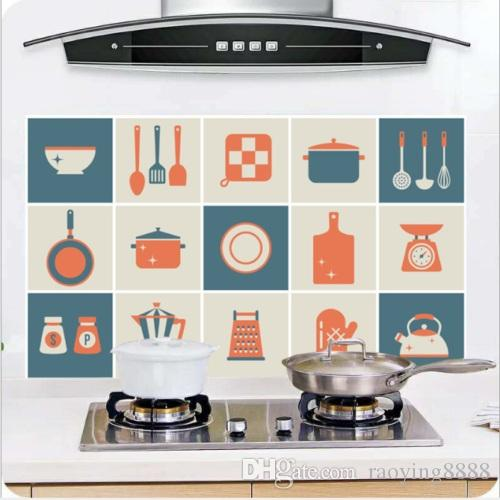 8 Kinds Kitchen Waterproof Tile Decals Anti-Oil Washable Wall Sticker Home Decor
