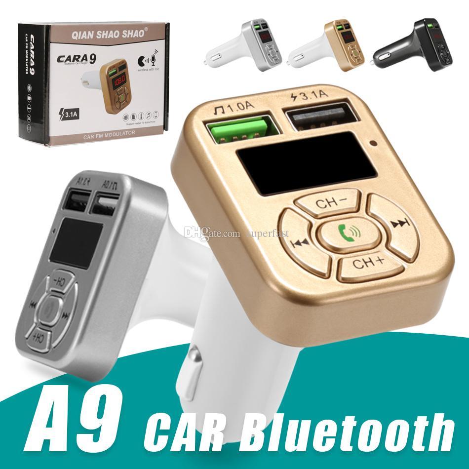 FM 송신기 A9 블루투스 차량용 키트 핸즈프리 FM 라디오 어댑터 LED 자동차 블루투스 어댑터 지원 TF 카드 USB 플래시 드라이브 AUX 입력 / 출력