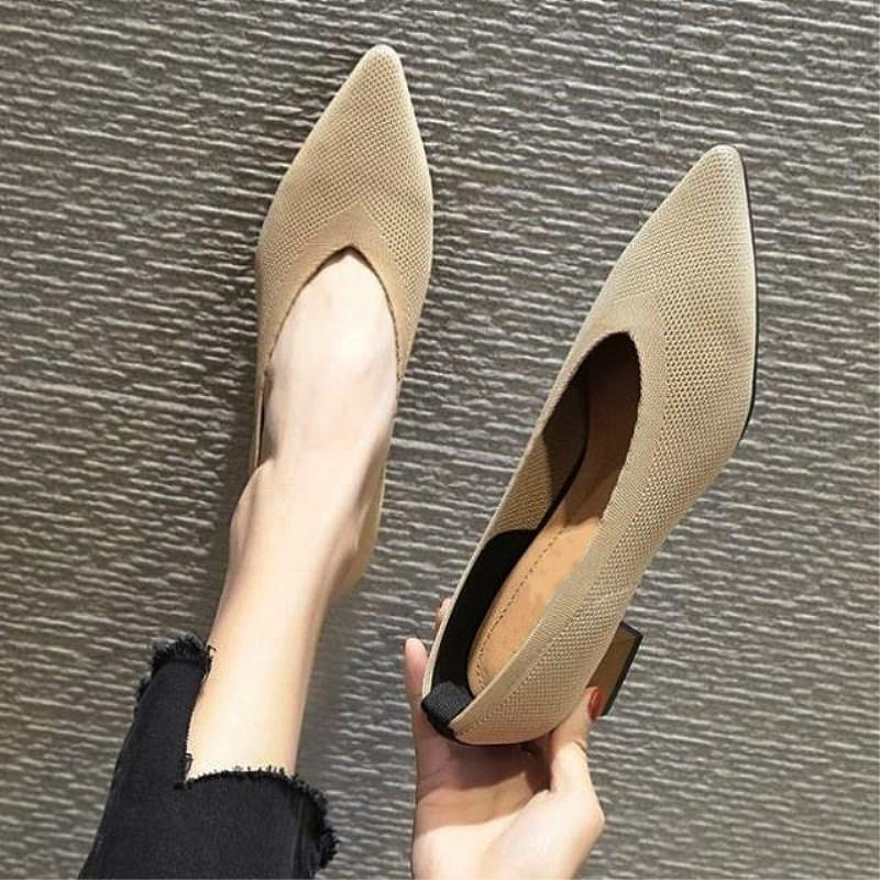 SLHJC 4 cm Women Knit Fabric Pumps Shoes Fashion V Mouth Stretchy Med Square Gold Heels Pointy Toe Slip On Office Sock Shoes Y200702