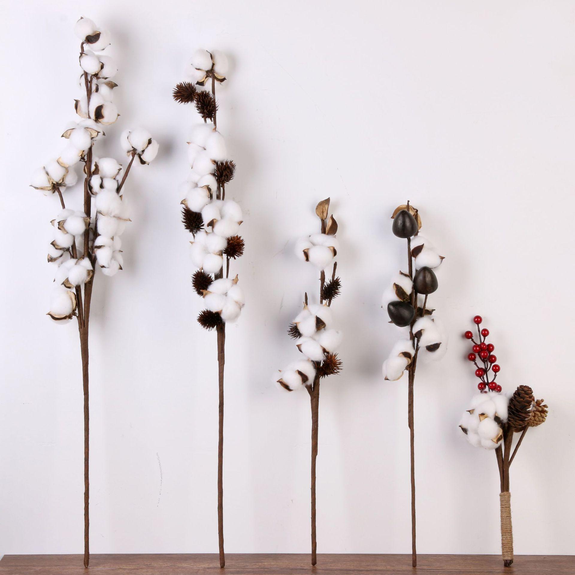 Branche Fleur De Coton acheter nouveau style artificielle en coton fleur 2 couleurs simple branche  simulation fleur diy décoration de mariage pour la maison parti bureau de