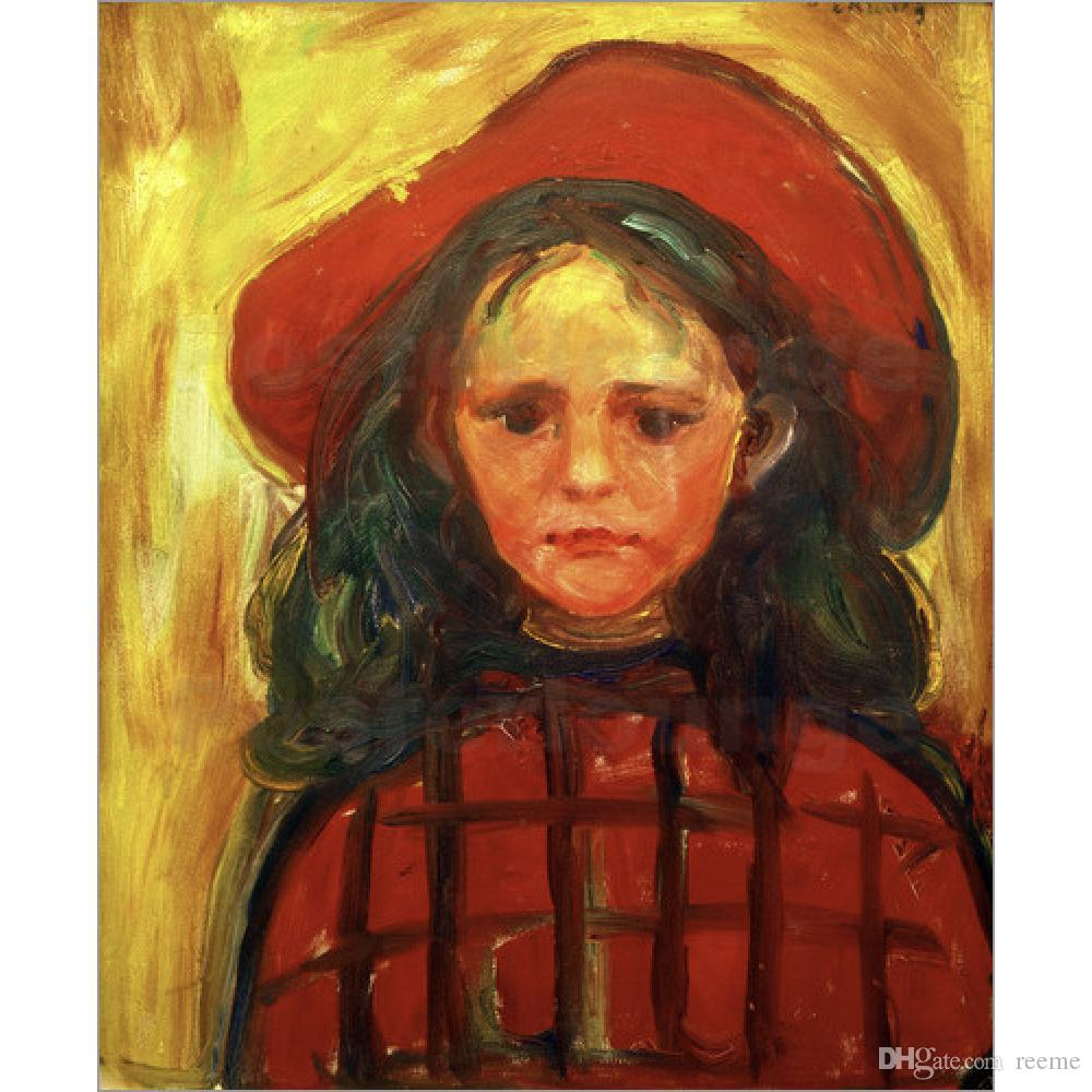 Alta qualità Edvard Munch Paintings Girl in Red Checkered Dress e Red Hat modern abstract art Dipinto a mano