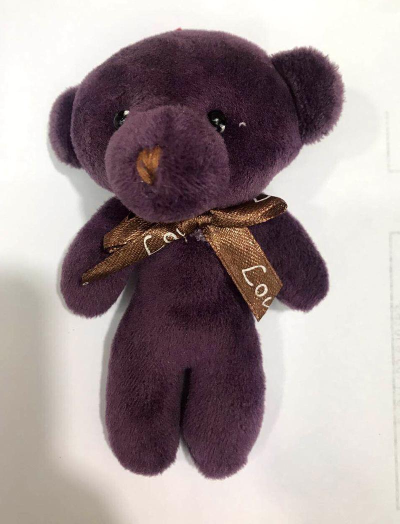 30pcs 12cm Small Stuffed Mini teddy bears decoration key Chain Anime pendant Toys Plush pink gray brown colorful teddies bear