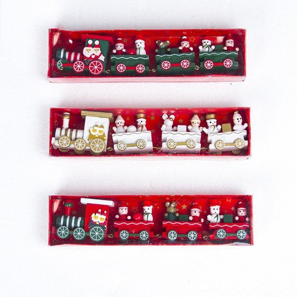 DUUTI Tren de madera Decoración Chrimas para vehículos de juguete Inicio mini tren de Navidad Modelo Chrimas regalo para la nueva llegada Chidlren