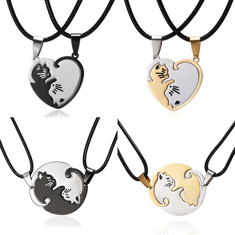 Coppia cat cuore della collana di Yin Yang acciaio inossidabile gatto rotondo pendente di giunzione fascino regalo collana gioielli per gli amanti delle donne