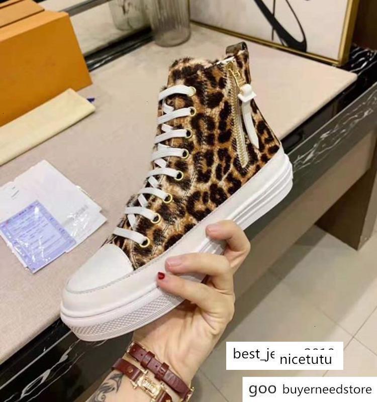 Pelle fiore delle donne Stellar Hi-top Sneaker Boot signora Lace-up006 Leopard Print Canvas suola in gomma piatto Scarpe S02