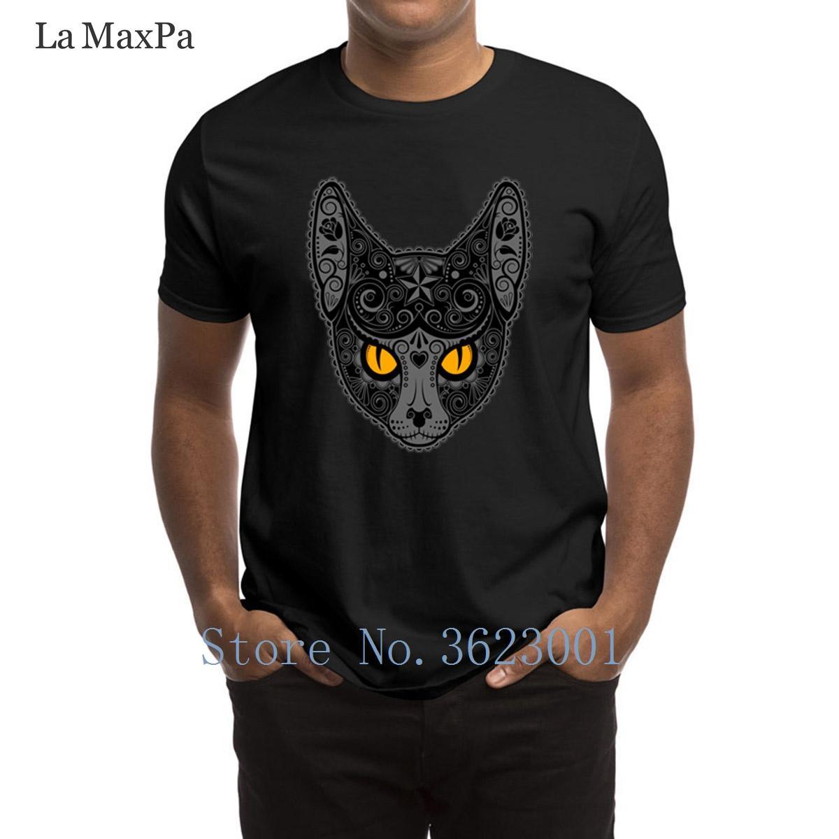 Loisirs T-shirt orné foncé de crâne de sucre de chat T-shirt Funky Homme T-shirt Comical 100% coton T-shirt homme en vrac