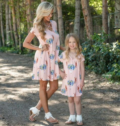 Madre Figlia di corrispondenza vendita calda familiari vestiti della signora l'Summer Girl Dress floreale bambino