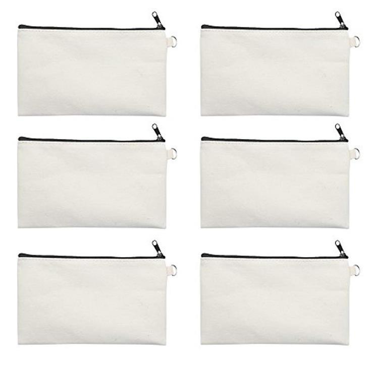 100pcs 19.5*11cm Black cotton canvas cosmetic bags DIY women blank plain zipper makeup bag phone clutch bag Gift organizer cases SN1188