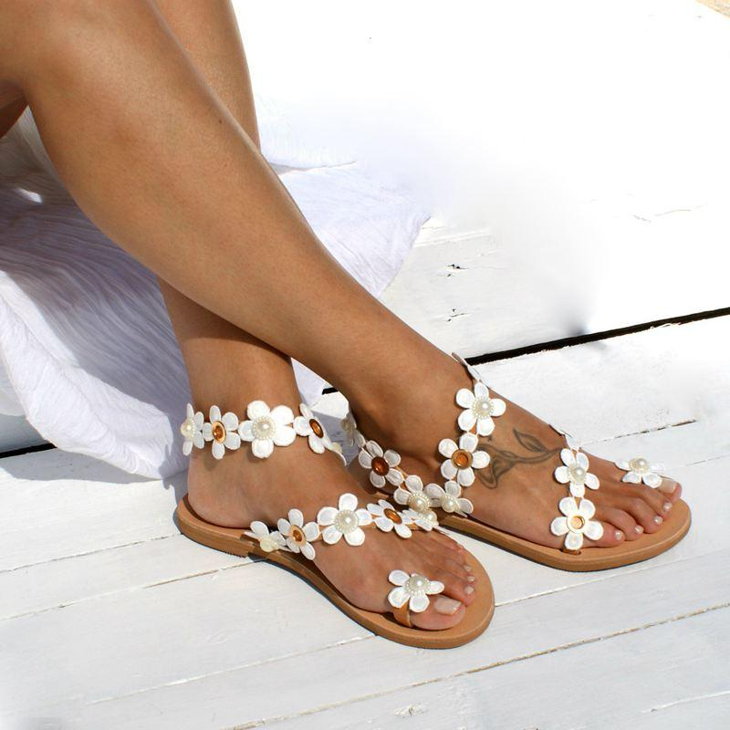 MoneRffi Women Bohemia Flower Flat 2019 Summer Sandals Shoes Ladies Girls Sweat Gladiator Sandals Party Shoes Plus Size Sandalia
