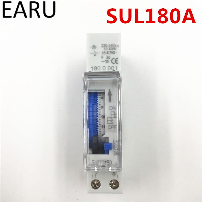 Free Shipping SUL180a 15 Minutes Programmable Din Rail Analog Mechanical Timer Switch AC 220V Time Switch Relay Auto Control Hot
