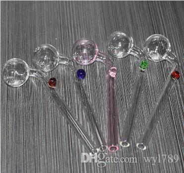 5,5 Zoll gebogenes Glas Ölbrenner Glasbong Wasserpfeifen mit unterschiedlichem farbigem Glasbalancer zum Rauchen