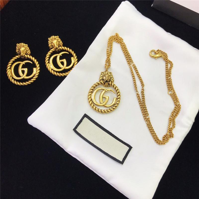 Retro cabeza de león collares pendientes GG cartas pendientes Diseñador pulsera de cadena de Hip Hop de la pulsera de las mujeres La joyería de lujo