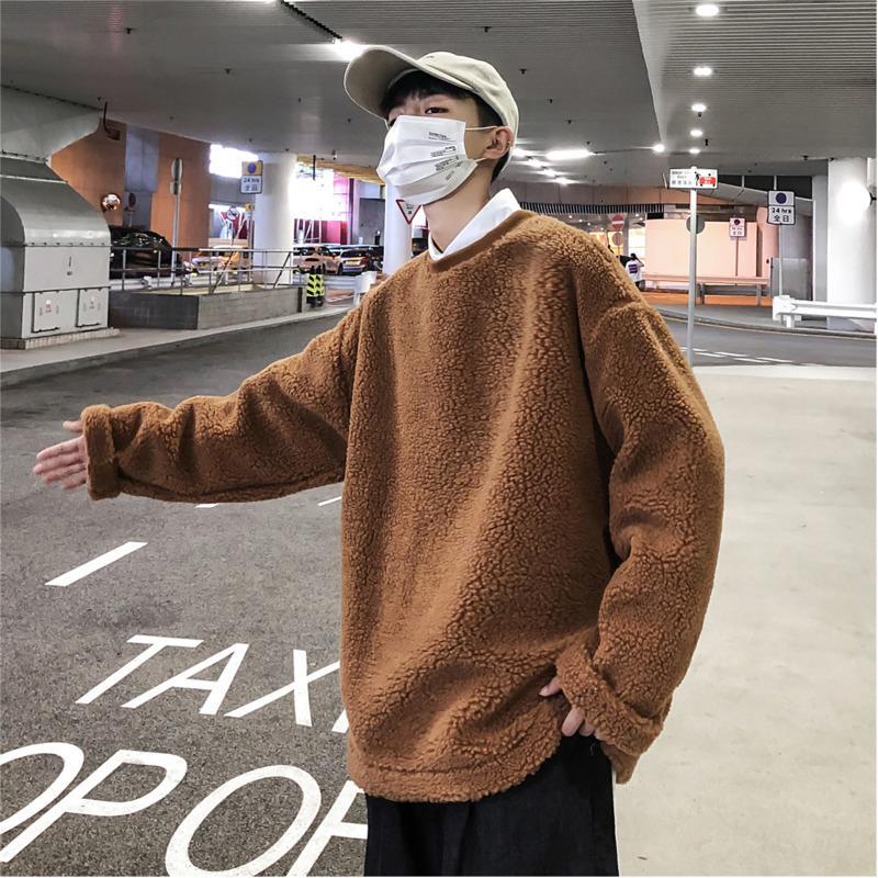 2019 autunno e la versione di New Winter coreana Di The Loose Fashion Trend cotone Plush solido di colore Spesso Pullover