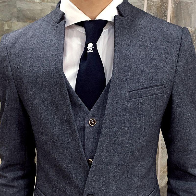 Серый Homme Woll Slim Stand Ternos Suits Slim Custom Care Care Made Fit Fit Мужчины Формальные Мужские Мужские 3 шт. Костюмы костюмы Vdnxd