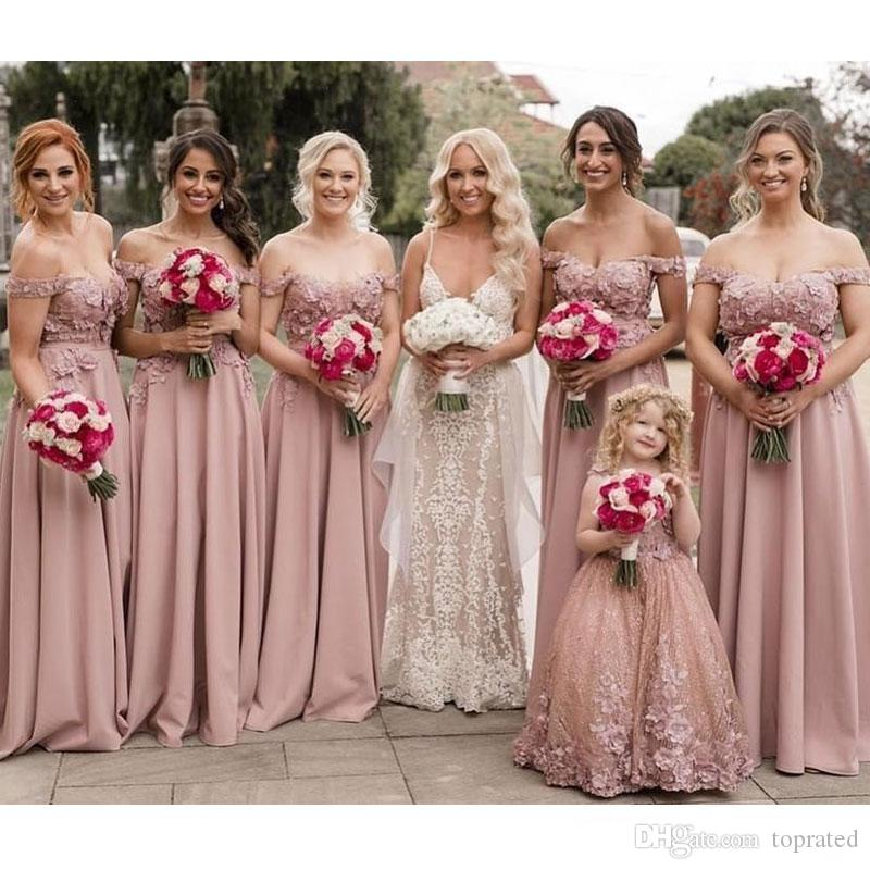 Blush A Line Country Bridesmaid Dresses Off The Shoulder 3D Appliqued Wedding Guest Dress Floor Length Plus Size Maid Of Honor Gowns