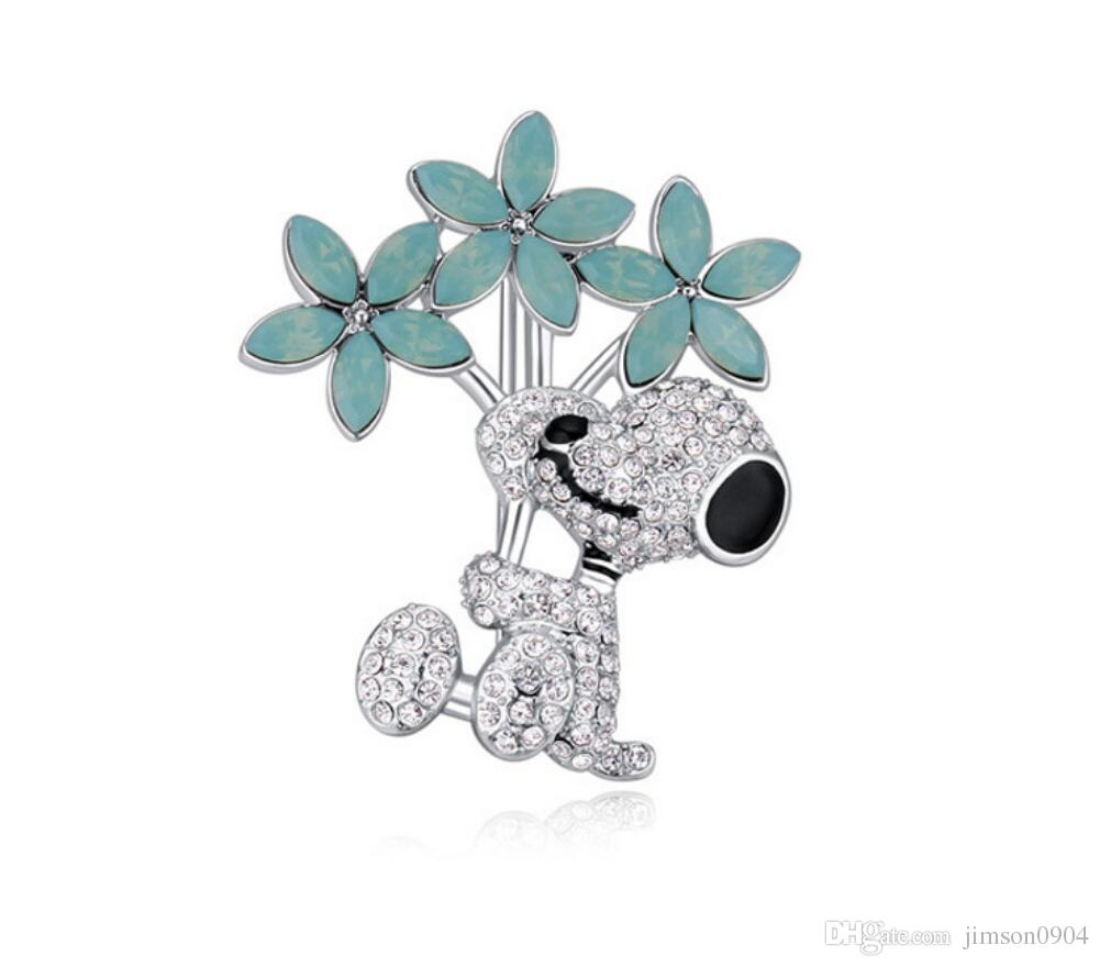 Free shipping fashion jewelry Imported crystal ornaments Austrian Crystal Brooch Flower dog OL High-end Micro insert Pins female Brooches