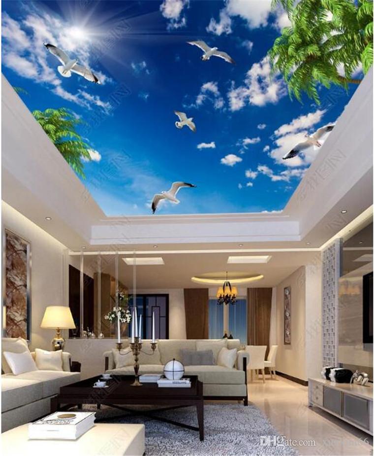 Modern 3D foto wallpaper céu azul e nuvens brancas i gaivota folhas papel de parede interior home sala parede salão teto mural