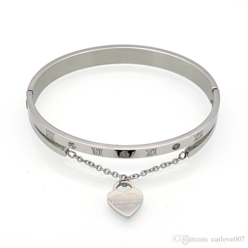 Marca de aço titânio moda luxuosa novos números romanos bracelete 18K colar de Ouro Peach cartão de coração fivela mulheres bracelete de amor