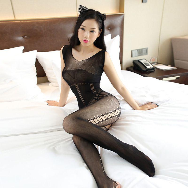 Manica delle donne Fishnet nuovo sexy Bodystocking Crotchless della biancheria da notte Collant Body collant nero Erotic Calze Calze