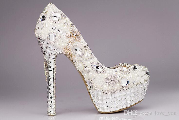 Neue Einzigartige Elfenbein Perle Strass Hochzeitskleid Schuhe Mode Peep Toe Hochhackige Brautschuhe Wasserdichte Frau Party Prom Schuhe