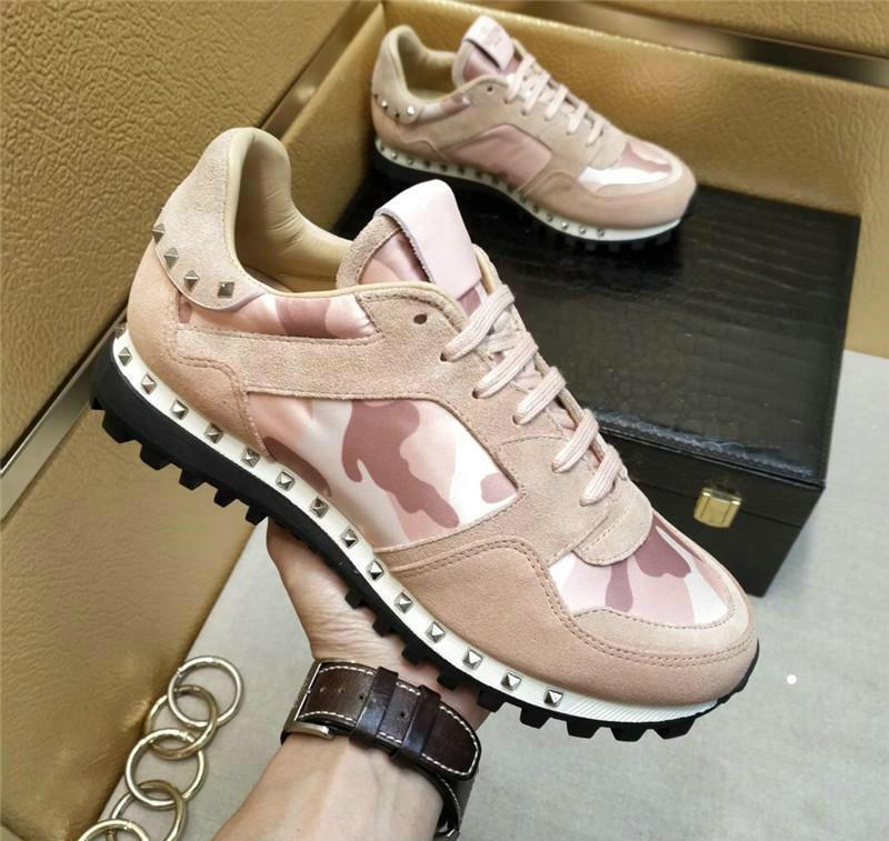 2020 Valentines zapatos para hombre del diseñador picos corredor Camo Roca zapatillas de deporte de cuero hombres blancos as zapatilla de deporte de los calzados informales de vetements