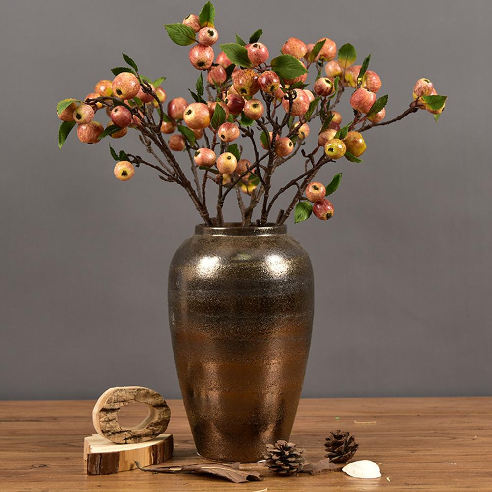 60cm 11 Heads Artificial Mini Apples Tree Flower Branch Real Touch Fake Flowers Simulated Plant Home Garden Wedding Decoration