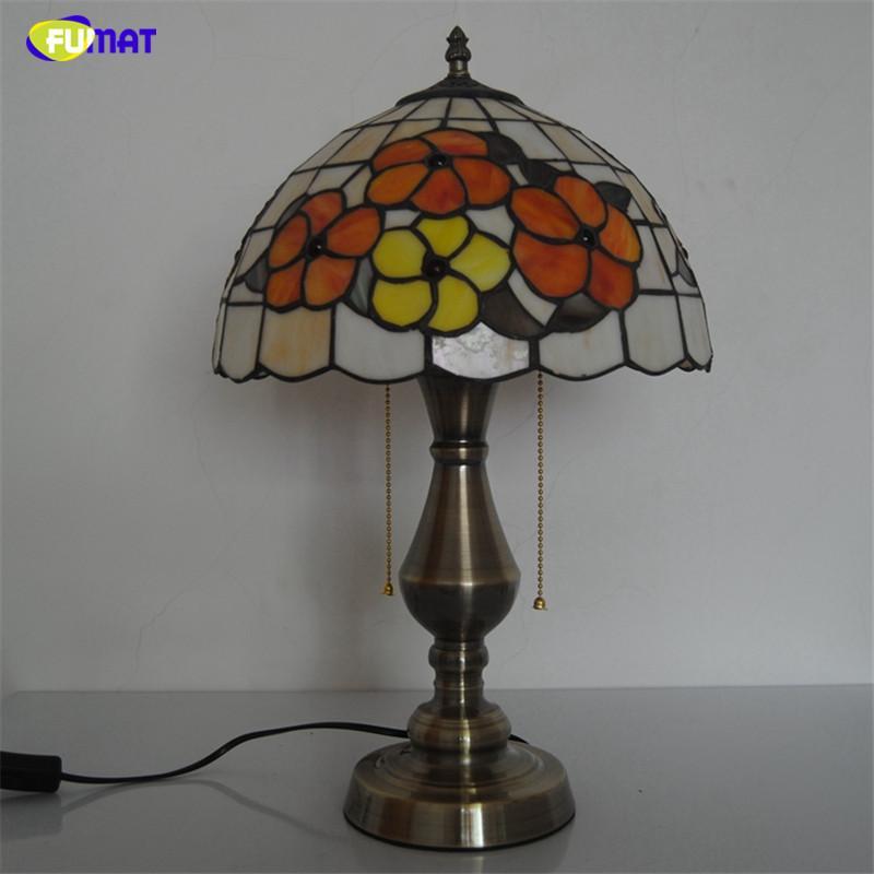 """FUMAT 12"""" Floral Lampes de table Tiffany Vitrail Light Table pour LITS Salon Décoration intérieure Table de nuit Lumières"""