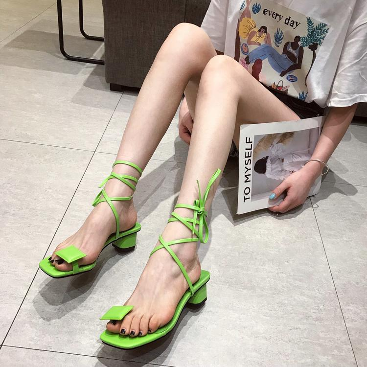 Crystal2019 Set Square Coarse Toe Fit Ring Bandage Sandals Girls With Rome Women's Shoes Summer