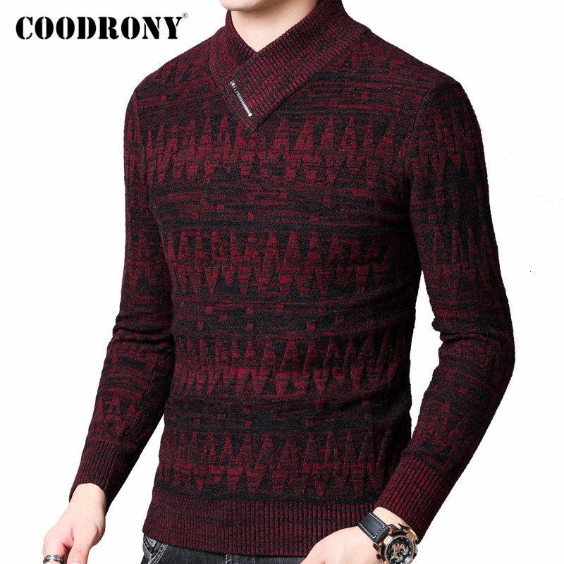 COODRONY Sweater Men Outono Inverno quente grossa de lã Pullover Homens Streetwear Moda Tricô Cashmere Gola Pull Homme 91098 MX191214