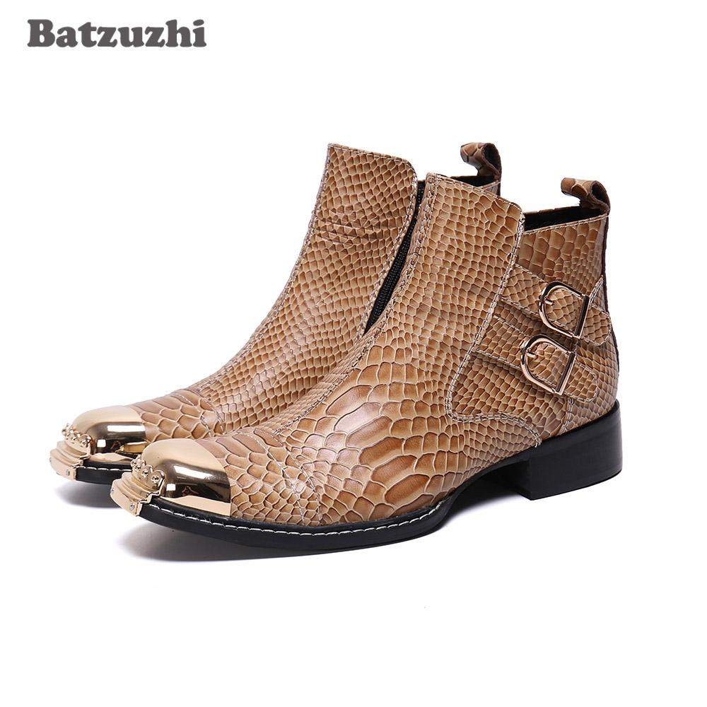 Batzuzhi Luxury Leather Shoes Stivaletti uomo moda maschile Affari Stivali bassi Big Size 38-46 Calzature Business Party Botas hombre, 12