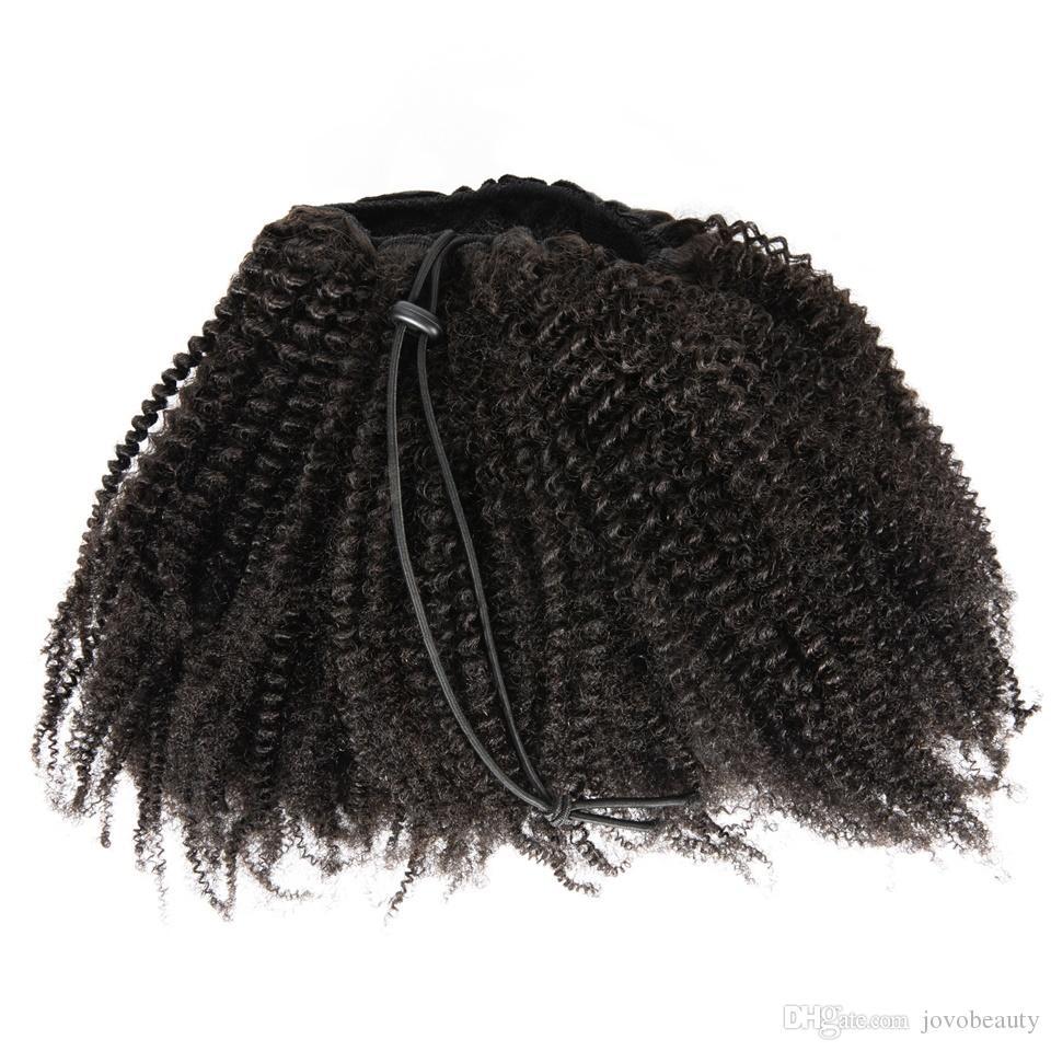 VMAE бразильский натуральный черный от 12 до 26 дюймов 4B афро кудрявый кудрявый 120 г Хвощ кутикула выровненная девственница Реми человеческие волосы шнурок конский хвост