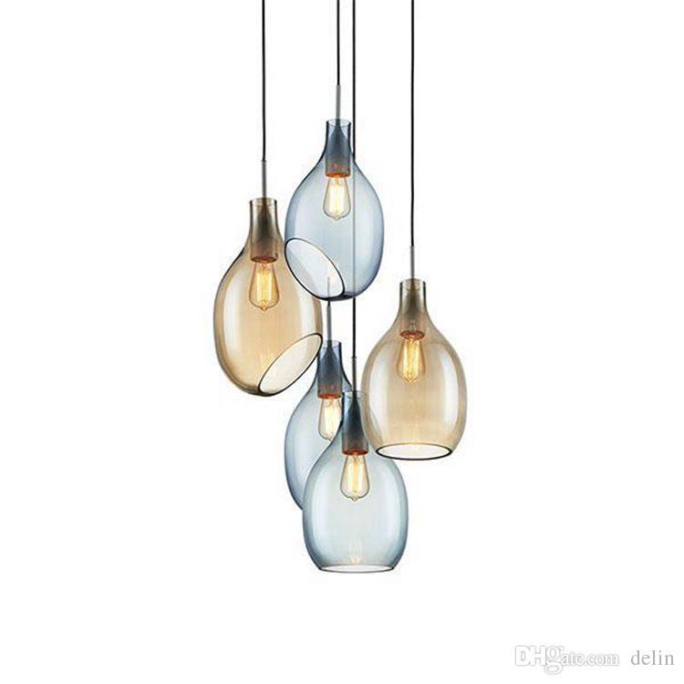 الزجاج قلادة الأنوار الحديثة تركيبات المطبخ غرفة الطعام luminaria شنقا مصباح الفن مطعم ديكور بريقا ومينير suspendu