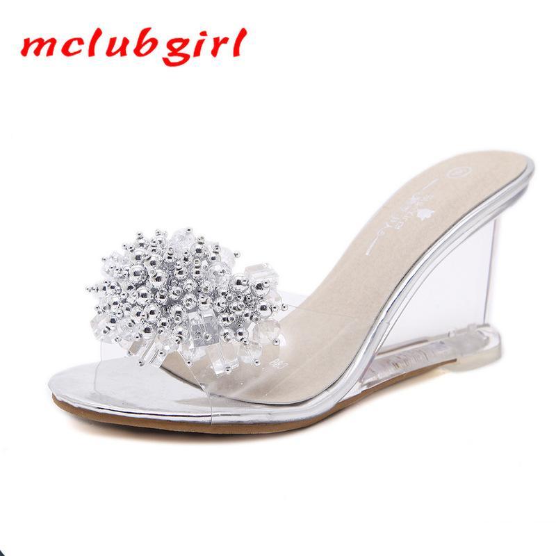 Mclubgirl Schuhe Frauen Heels 8cm Keilabsatz Sandalen Schuhe Frauen Sandalen Transparent Kristall Damen Hausschuhe Sandalen Strass CX200612