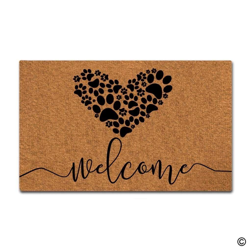 Doormat Entrance коврика Смешные Doormat Добро пожаловать Собака Лапы Любовь Решотки Главная Декоративные Indoor Outdoor