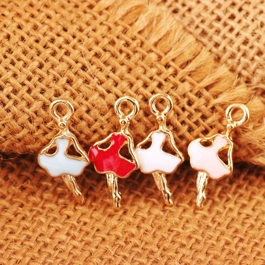10pcs 22*9MM Mix Fashion Diy gold alloy metal enamel ballet dancer ballerina charms pendants for bracelet earring jewelry making