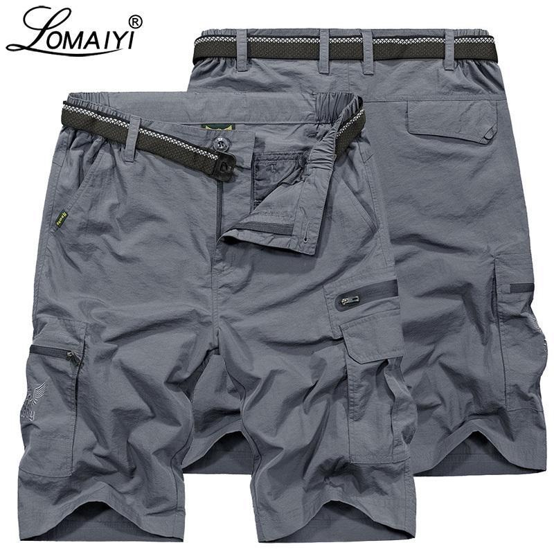 Lomaiyi 2019 nuevos hombres de carga pantalones cortos hombres estilo militar pantalones cortos de verano para hombre playa corto impermeable pantalones cortos casuales para hombre Am369 Y19050501