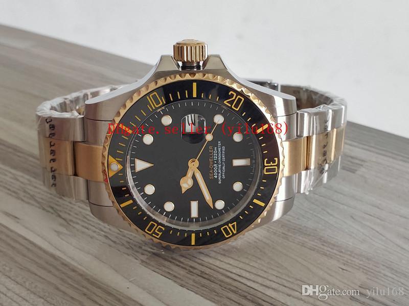 2019 Новая Модель Часы 126603 43 мм Sea Dweller Deep 4000 керамическая Рамка 18 К Золото Стали Автоматические Мужские Часы Часы 126600 Наручные Часы