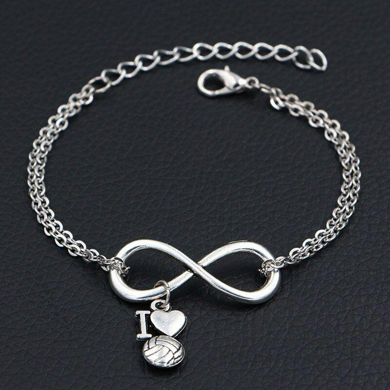 Love Volleyball Charms Silver Pendants