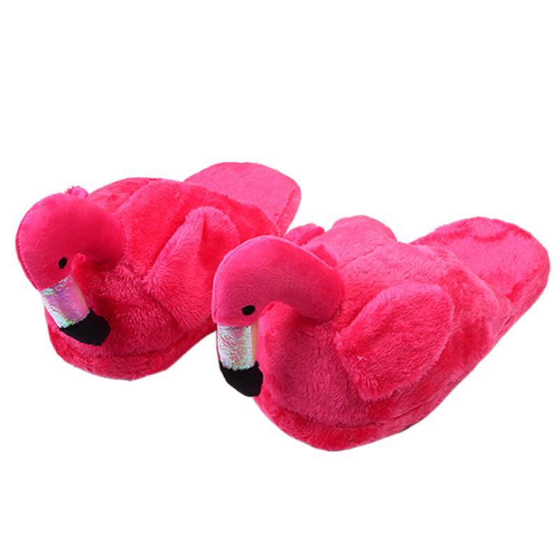 Зима прекрасного дома тапочки Женщина мультфильм Flamingo тапочка обувь Hot Bird Теплого Anime Смешная женщина Крытого Тапочки Flat для женщин
