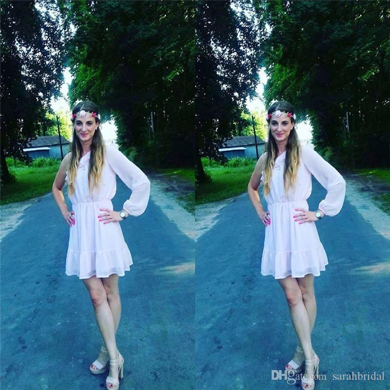 Дешевые короткие шифоновые платья возвращения на родину с одно плечо выпускные платья Дешевые на заказ с высоким качеством