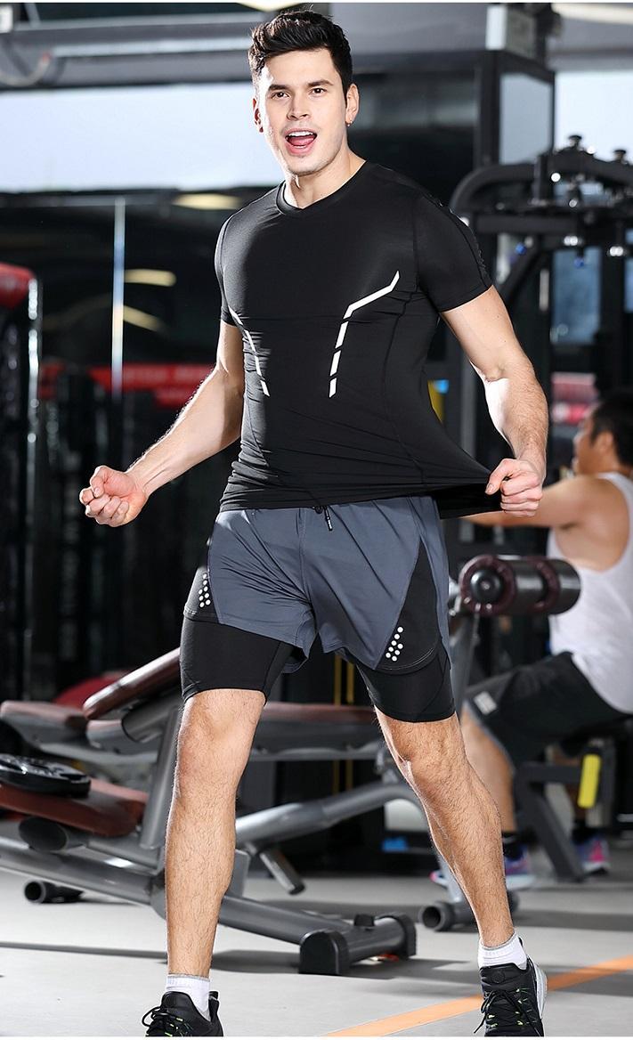 2020 novas calças stretch de secagem rápida falso dois curtas de fitness basquete calções dupla camada dos esportes dos homens