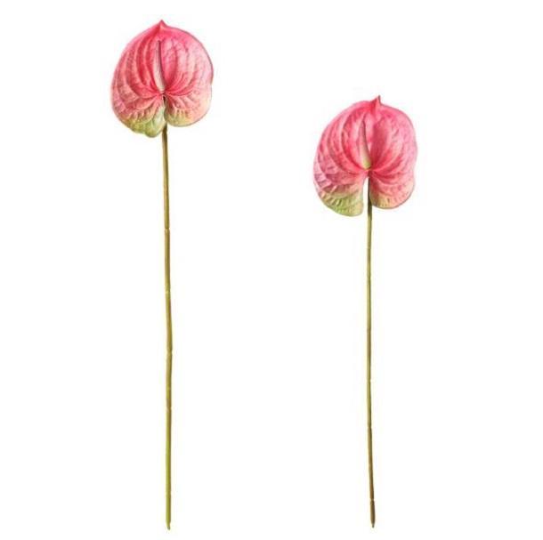 3D printing of single stem PU material 68cm height artificial anthurium varieties anthurium plant Wedding Decorative Flowers